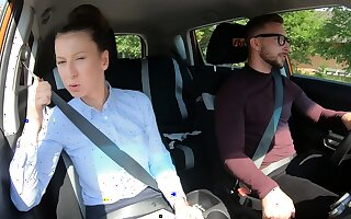 Fake Driving School Unmasculine Instructor compressing that her pussy