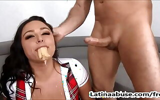 Sexy Latina Deep Throats 2 Big Cocks Plus Gets Fucked Roughly